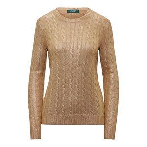 Ralph Lauren metallic cable knit silk sweater